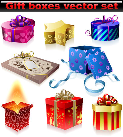 Vector set of colorful gift boxes with ribbons and bows isolated on white background. Vector