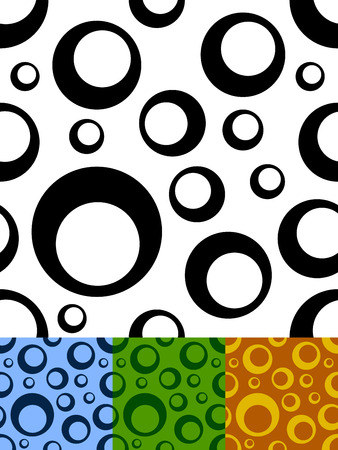 Circles two tone seamless vector pattern in black and white and color variants. Stock Vector - 6126255