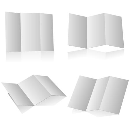 article marketing: Blank folding advertising booklet isolated on white background