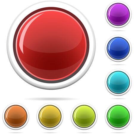 Vector set of varicolored spherical glossy buttons isolated on white. Vector