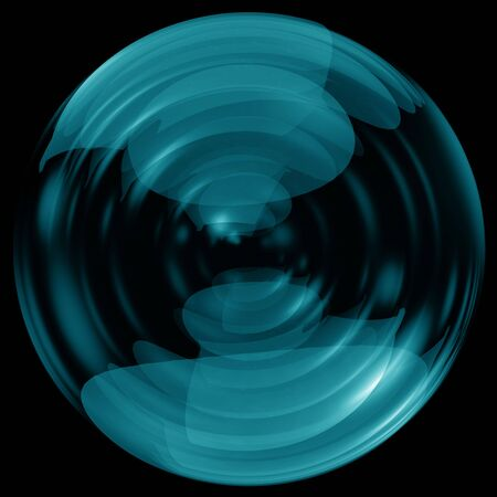 Glossy glass sphere isolated on black background photo