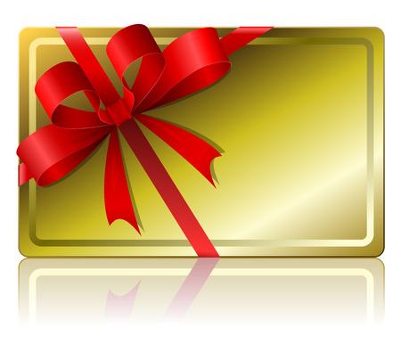 red and yellow card: Tarjeta de regalo en blanco aislado sobre fondo blanco. Vectores