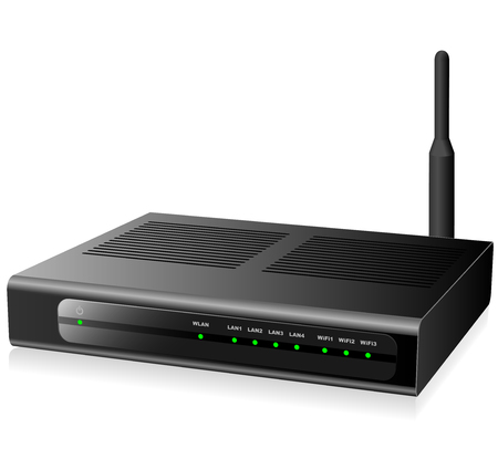 isdn: New modern black network router isolated on white background.