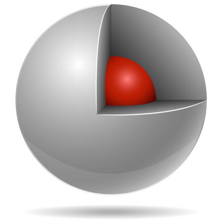 red sphere: Sezione trasversale della sfera bianca con rosso uno interno isolato su sfondo bianco. Concetto fondamentale.