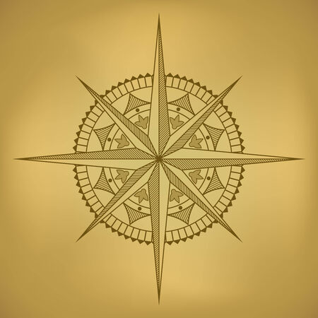 crosshatched: Traditional old-styled wind rose on ancient russet paper. Illustration