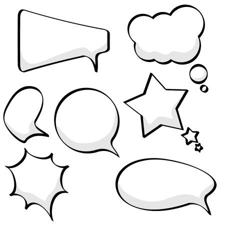 burbujas de pensamiento: Discurso de incompletos de dibujos animados y burbujas de pensamiento aisladas sobre fondo blanco.