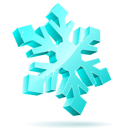 Abstract 3D vector snowflake isolated on white background.