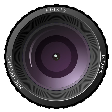 photography icon: New modern camera lens isolated on white background.
