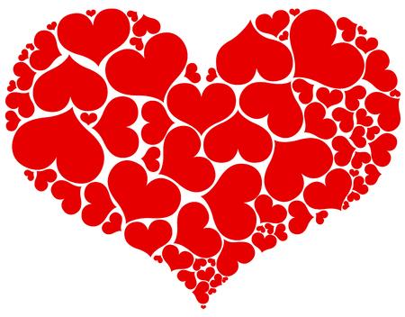 heart tone: Forma de gran coraz�n compuesta por peque�os aislados sobre fondo blanco.