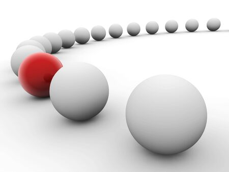 one item: White balls arranged along circle with red one isolated on white. Uniqueness concept image.