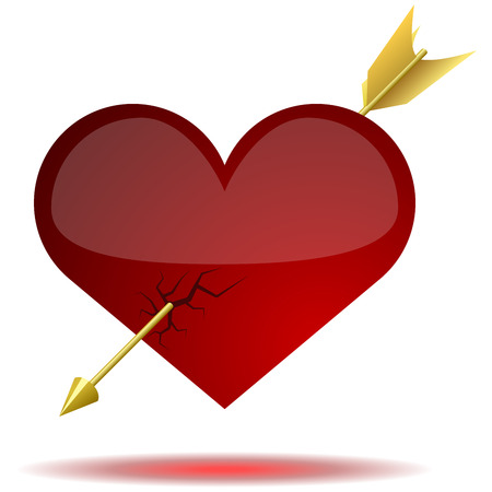 pierced: Red glossy heart pierced with arrow isolated on white background.