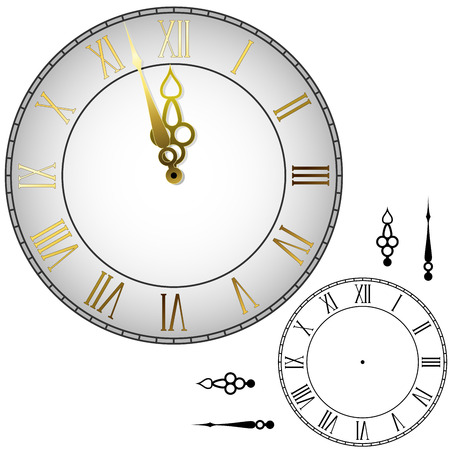 round face: Old-fashioned wall clock with hands about midnight with black and white template. Illustration