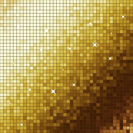 flickering: Dorada como fondo cuadrado parpadeo de mosaico. Vectores