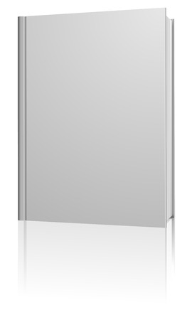 Standing blank hardcover book isolated on white background. Illustration