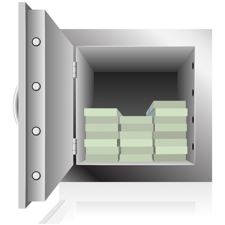 Opened steel safe filled with dollar notes packs isolated on white background. Vector