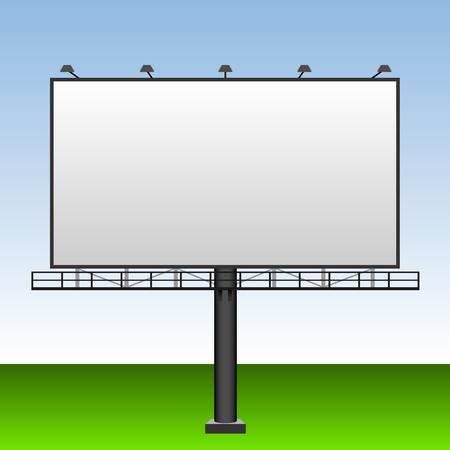 outdoor blank billboard: Big blank outdoor advertising billboard with blue sky behind.