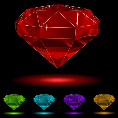 Colorful diamond  set isolated on black background. Vector