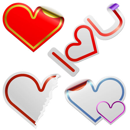 Heart shaped stickers with color frames isolated on white background. Stock Vector - 6268887