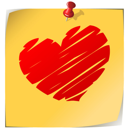 Pinned yellow note paper with drawn heart isolated on white. Stock Vector - 6296274