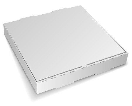 closed box: Blank closed cardboard pizza box isolated on white background. Illustration