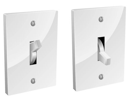 Electric switch in on and off mode isolated on white.