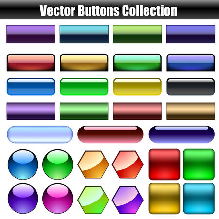 Glossy web buttons vector collection isolated on white background. Stock Vector - 6296294