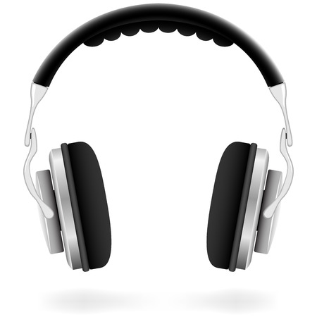 wav: Vector illustration of studio headphones isolated on white background. Illustration