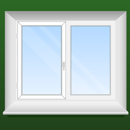 Vector illustration of a new pvc window with one opening leaf. Vector