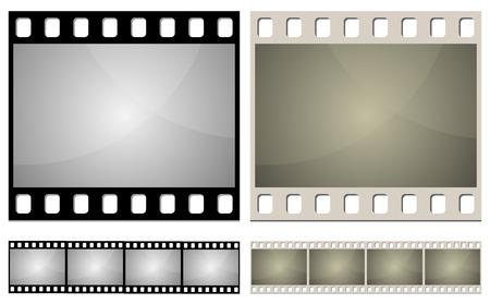 Cine foto est�ndar marco la plantilla transparente. Variantes de color nuevos y antiguos.