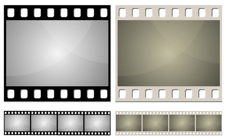 Standard photo film frame seamless template. New and aged color variants. Vector