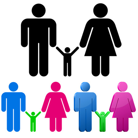 relation: Male and female gender signs with child sign isolated on white background. Family concept.