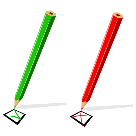 Pencil drawing green tick and red cross isolated on white background. Vector