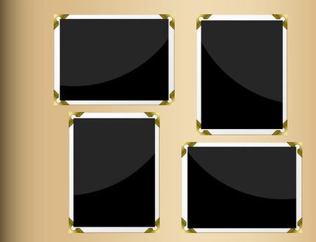 photo album page: P�gina de �lbum de fotos con fotograf�as en blanco horizontales y verticales.  Vectores