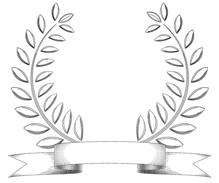 laurels: Black and white sketchy vintage wreath and banner isolated on white. Illustration