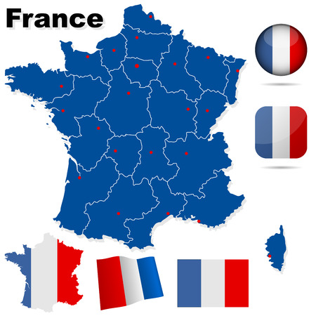 France vector set. Detailed country shape with region borders, flags and icons isolated on white background. Stock Vector - 6296287