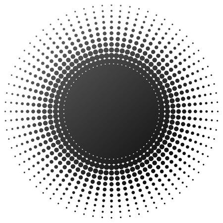 Radial halftone element isolated on white background.
