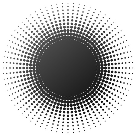 sunburst: Radial halftone element isolated on white background.