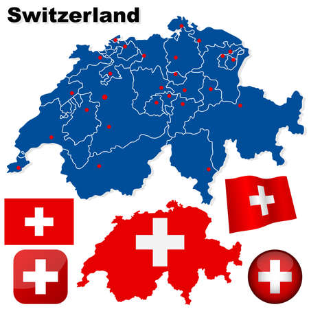 Switzerland vector set. Detailed country shape with region borders, flags and icons isolated on white background. Stock Vector - 6296288