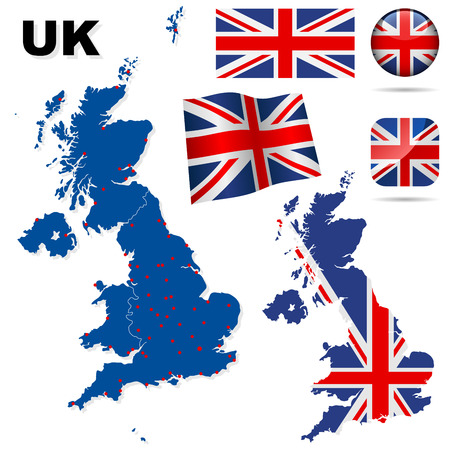 United Kingdom vector set. Detailed country shape with region borders, flags and icons isolated on white background. Vector