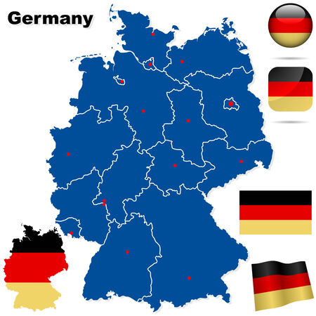 Germany vector set. Detailed country shape with region borders, flags and icons isolated on white background. Vector