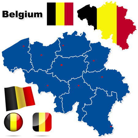 Belgium vector set. Detailed country shape with region borders, flags and icons isolated on white background. Vector