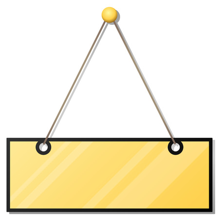 Hanging blank yellow doorplate isolated on white background. Vector