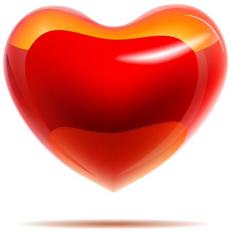 Glossy red heart with yellow reflections isolated on white. EPS10 with transparency. Vector