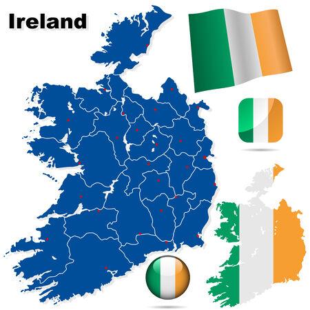 Conjunto de vector de Irlanda. Forma de pa�s detallado con las fronteras de la regi�n, banderas y iconos aislados sobre fondo blanco.  Vectores