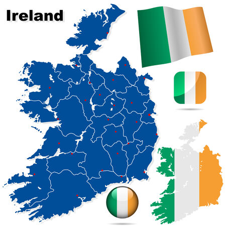 Ireland vector set. Detailed country shape with region borders, flags and icons isolated on white background. Vector