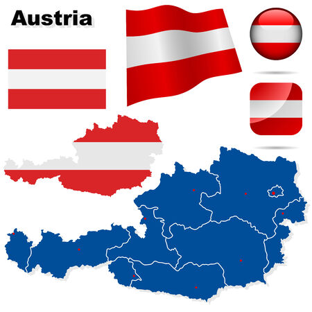 Austria vector set. Detailed country shape with region borders, flags and icons isolated on white background. Vector