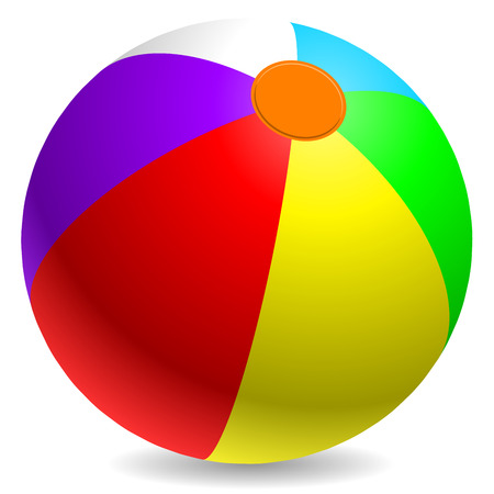 inflate: Colorful beach ball isolated on white background. Illustration