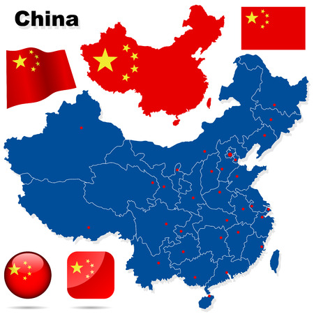 China vector set. Detailed country shape with region borders, flags and icons isolated on white background. Illustration