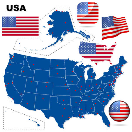 USA vector set. Detailed country shape with region borders, flags and icons isolated on white background. Vector