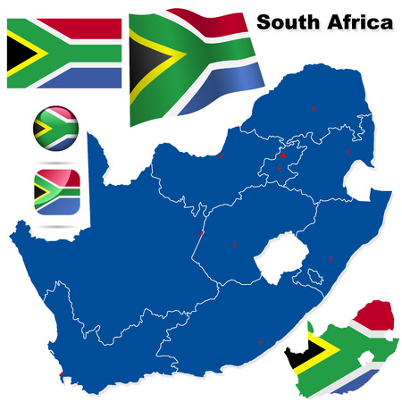 South Africa vector set. Detailed country shape with region borders, flags and icons isolated on white background. Illustration